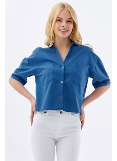 Pattaya Pattaya Kadın Cep Detaylı Basic Kısa Kollu Gömlek P21S201-2159 İndigo